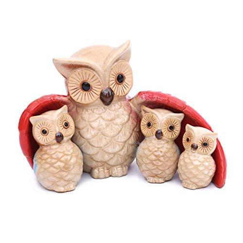 Flanacom Dekofiguren Set aus Keramik - Tierfiguren für Innen und Außen - Deko-Artikel für Wohnung & Garten - Tier Gartendeko Wohnzimmerdeko (Eulen Familie)