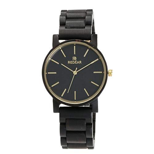 GLEMFOX Ebenholz Paar Uhr-natürliche hölzerne Uhr Japan Miyota Quarzwerk Senior Herren Damen hölzerne Uhr
