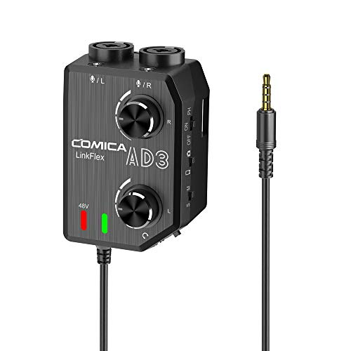 Comica LINKFLEX AD3 Microphone Amplifier Adapter XLR/3.5mm/6.35mm-3.5mm Microphone Preamp Adapter with 2-channels 48V Phantom Power Mixer for iPhone iPad Android Smartphones,Camcorders,DSLR Cameras