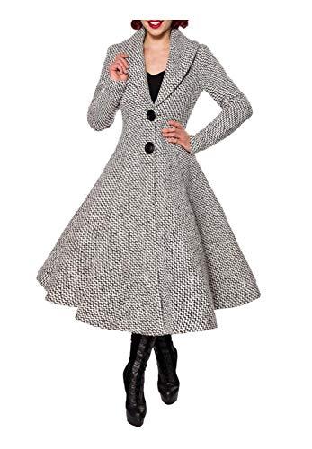 Belsira Damen Vintage-Wollmantel mit Schalkragen 3XL