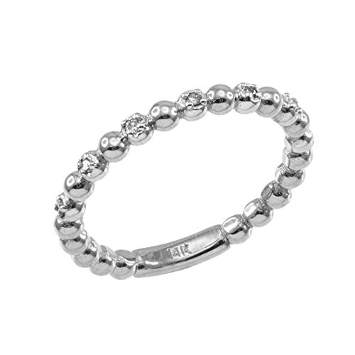 Fine 925 Sterling Silver Beaded Stackable Ring with White CZ Stones (Size 5.5)