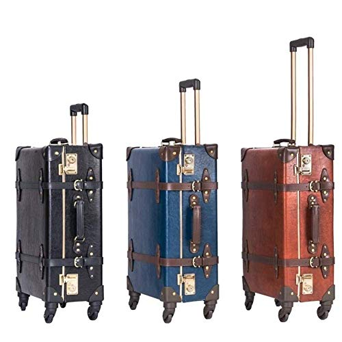 MJY Suitcase Wheels 20 inch Vintage Cabin Travel Bag Retro Genuine Leather Black Rolling Luggage Spinner Women Trolley,Blue,22'