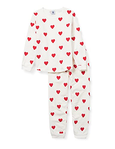 Petit Bateau A00FR01 Pajama Set, Marshmallow/Terkuit, 2 Ans