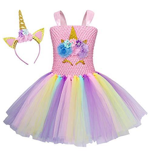 AmzBarley Unicornio Vestidos Cortos Fiesta de Princesa de Tul Tutu con Encaje de Flor sin Mangas para Niña,Disfraz Halloween Princesa con Argolla de Pelo para Boda (6-7 Años, Rosa 3)