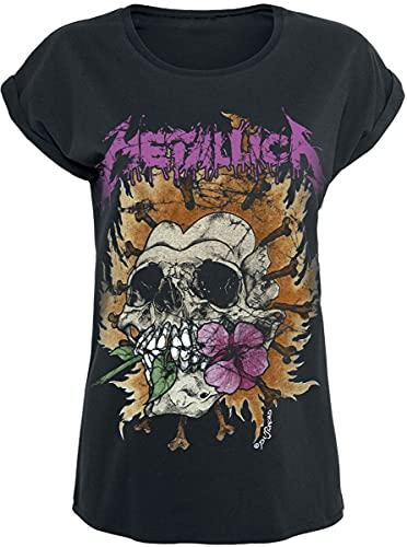 Metallica Flower Skull Mujer Camiseta Negro L, 100% algodón, Regular