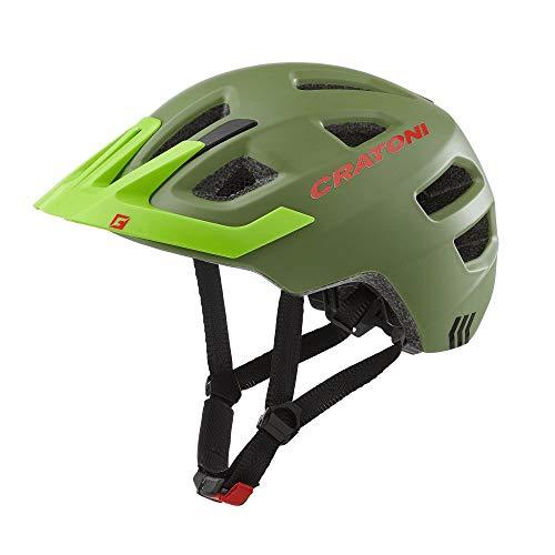 RennMaxe: Cratoni Maxster PRO – incl. fascia di sicurezza – Casco da bicicletta da pattinaggio MTB BMX bambini ragazzi, Verde giovane opaco, 46-51 cm