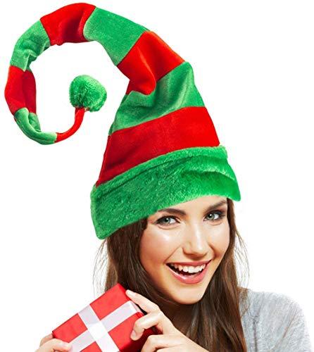 Thstheaven Gorro de Papá Noel, gorro de elfo de Navidad, accesorio para fotos, color rojo y verde