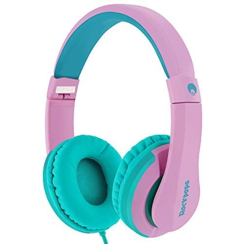 RockPapa I20 On Ear Headphones Foldable with Microphone, Earphones Adjustable for Kids Childrens Adults, iPhone iPad iPod, Samsung LG Huawei Phones Tablets MP3/4 CD DVD in Car Pink Green