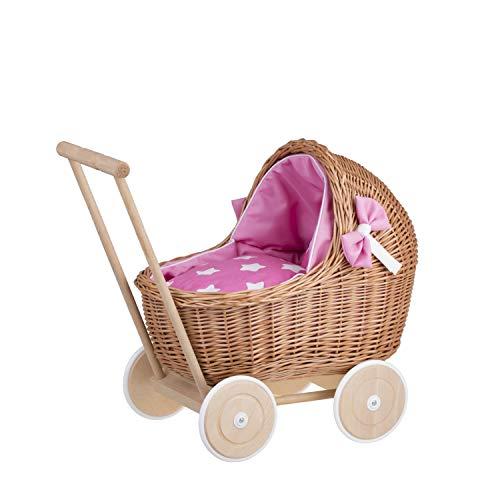 e-wicker24 Naturfarbiger Puppenwagen aus Weide mit Bettwäsche rosa