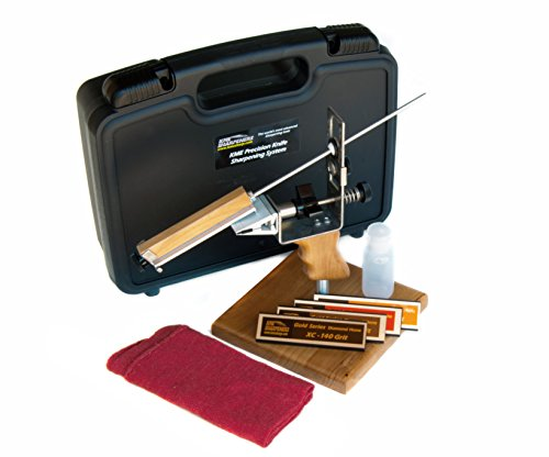 KME Precision Knife Sharpener System with 4 Gold Series Diamond Hones - Base Included
