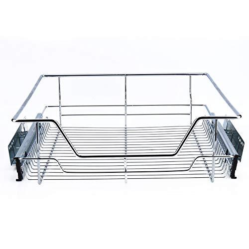 Zoternen uittrekbare wasmand voor keuken, schuifdeur, telescopische lade met rail van verchroomd metaal, 26,4 x 44 x 13,5 cm, zilverkleurig