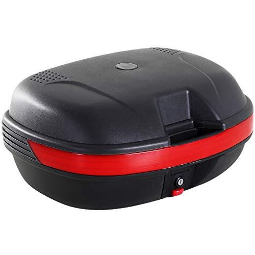 HOMCOM Baul Moto Universal 44L con LLaves y Soporte Caja de Moto Topbox Topcase Casco