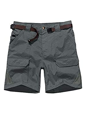 Men's Outdoor Casual Expandable Waist Lightweight Water Resistant Quick Dry Cargo Fishing Hiking Shorts (6018 Dark Grey 36