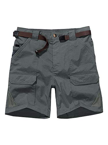 Men's Outdoor Casual Expandable Waist Lightweight Water Resistant Quick Dry Cargo Fishing Hiking Shorts (6018 Dark Grey 32)