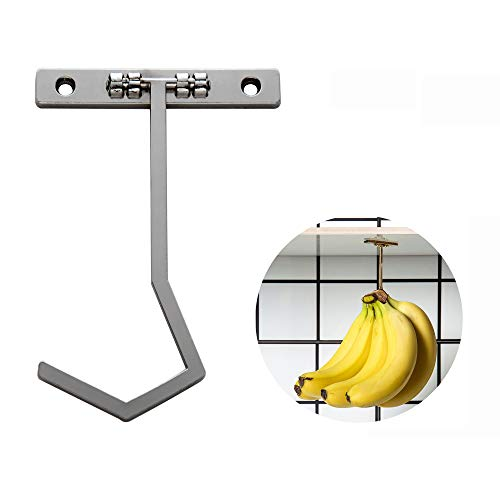 Metal Banana Hanger - Under Cabinet Hook for Bananas or Other Kitchen Items. Keep Banana Fresh (Silver Color X 1pc)