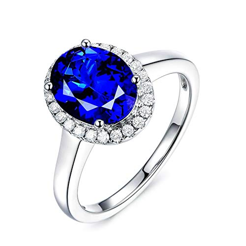 Cenliva Engagement and Wedding Ring Sets, 18K Gold 3.21ct Oval Tanzanite IF Ring Size S 1/2