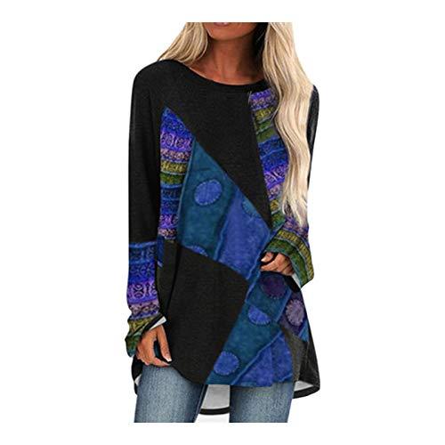 Chejarity Camisa de manga larga para mujer, jersey largo, blusa, blusa, sudadera de manga larga, estampado 3D, cuello redondo, camiseta suelta., azul, XL