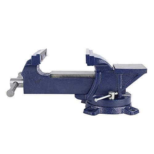Mordaza de banco de 5'azul con base giratoria de 360 ° Abrazadera de mesa de servicio pesado con yunque para carpintería y metalurgia