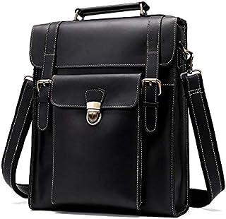 YXHM AU Men's Business Genuine Leather Bag Large-Capacity Male Handbag Shoulder Bag (Color : Black)