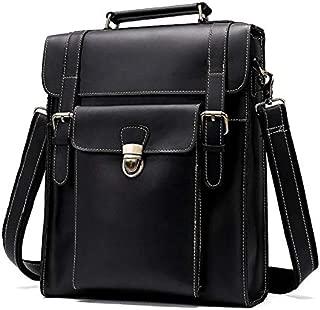 Men's Business Genuine Leather Bag Large-Capacity Male Handbag Shoulder Bag (Color : Black)