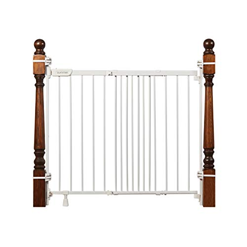 """Summer Metal Banister and Stair Safety Baby Gate, White Finish – 32.5"""" Tall, Fits Openings of 31"""" to 46"""" Wide, Extra-Wide Door Opens The Full Width of Your Stairway, Convenient Baby and Pet Gate"""