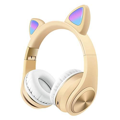 SFBBBO Auriculares Auriculares inalámbricos para niños Auriculares estéreo con Bluetooth para Colocar sobre la Oreja con micrófono Auriculares con Cable Gamer Amarillo