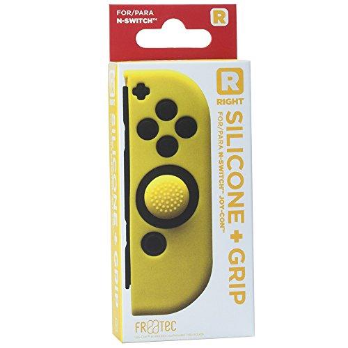 FR·TEC - Funda Silicona + Grip Para Joy- Con Amarillo Derecho - Nintendo Switch
