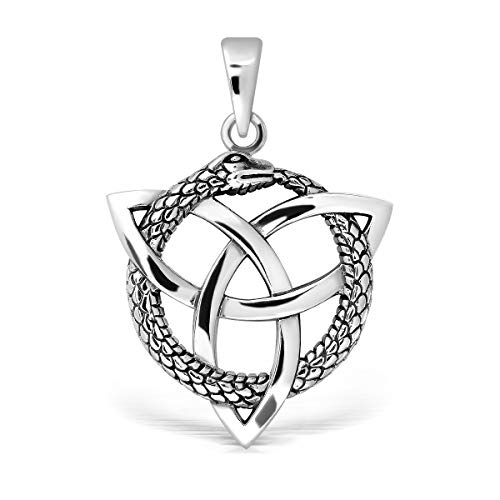 WithLoveSilver 925 Sterling Silver Celtic Triquetra Ouroboros Serpent Hoop Snake Infinity Pendant