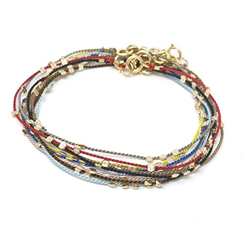 Beaded Silk String Bracelet, Anklet, Wrap, or Necklace also in Sterling Silver and Rose Gold Fill