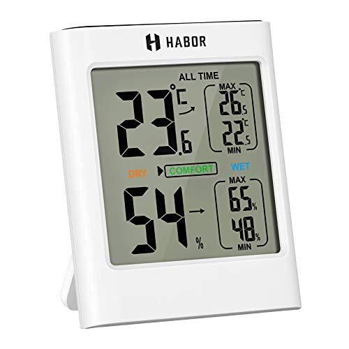 Habor digitales Thermo-Hygrometer Innen 2,9in, Thermometer Hygrometer, Luftfeuchtigkeitsmesser Klima Monitor, für Babyzimmer, Schlafzimmer, Küche, Büro und Garage