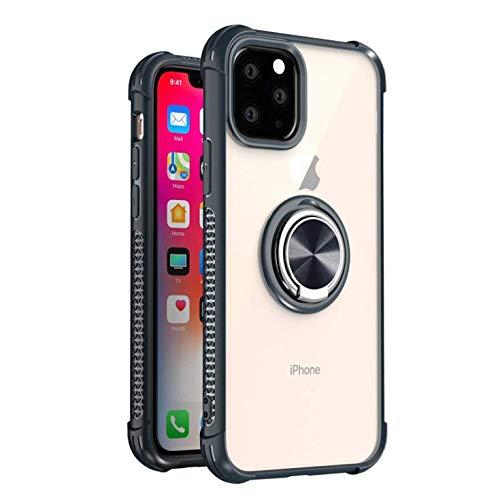 GOBY Coque iPhone 11 pro Case TPU Slim Fit avec Support de Bague Silicone Gel Anti Mince Placage Bumper Housse Lustre Métal 360° Bague Support Téléphone Voiture Etui (gris)