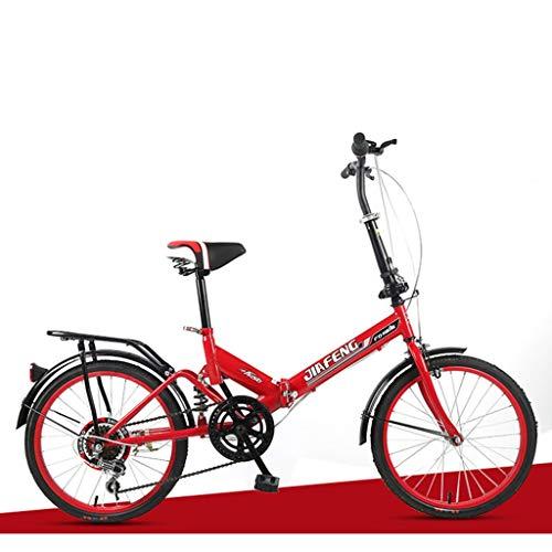 TOYSSKYR Strong Bike Single Speed Folding Fahrrad-Straßen-Fahrrad-Erwachsene Mann und FemaleStudent Fahrrad City Bike Mini-Fahrrad für enwachsene Kinder (Color : Red)