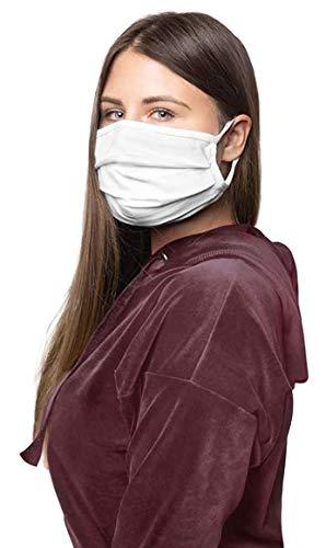 Preisvergleich Produktbild 1er-Pack Mundschutz Maske waschbar aus 100% Bio-Baumwolle Oeko-TEX 100 Standard,  nachhaltig,  Earloop-Design / Wiederverwendbare Behelfs-Abdeckung für Mund Nase in weiß / Hände-Hygienetuch