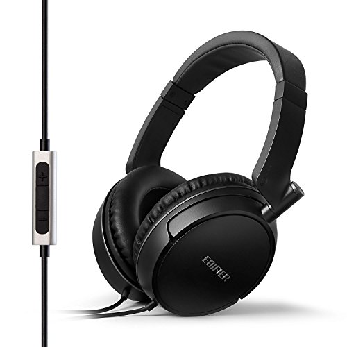 Edifier P841 Comfortable Noise Isolating Over-Ear Headphones with Microphone and Volume Controls - Black