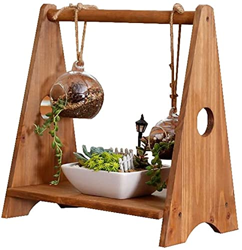 Puesto de flores Mesa de madera maciza Pequeño soporte de flores puede colgar suculents Creatividad Oficina de la oficina En la mesa Mini Mini Pantalla en maceta Crafts Rack de almacenamiento Brown In