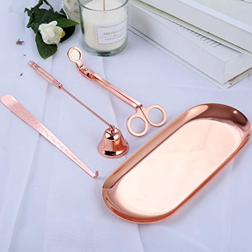 Tokenhigh Kerze Werkzeuge,4 Pack Kerze Zubehör Edelstahl Werkzeuge Set mit Kerzenlöscher,Entzünden,Dochtschere und Docht Trimmer (Rose Gold)