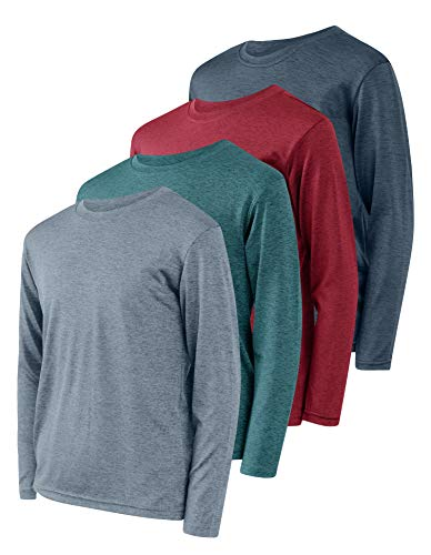 4 Pack:Boys Girls Youth Teen Active Wear Athletic Quick Dry-Fit Moisture Wicking Performance Basketball Gym Essentials Sport Long Sleeve Crew Undershirt Tee Top Top-Set 2, Medium