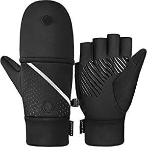 Winter Fingerless Gloves For Men Touch Screen Gloves Convertible Sport Gloves For Hiking, Running, Driving, Cycling