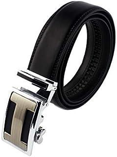 Cinturón Hombre Cuero Cinturones Piel con Hebilla Automática 6x4cm para Hombre, Ancho 35mm
