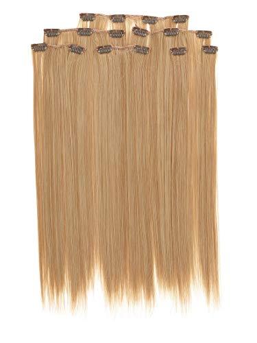 Prettyland antistatique Set de 7 pièces Clip-in 50 cm longue lisses Extensions de cheveux Blond BL70