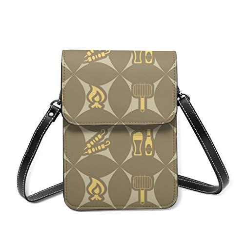Nahtloser Hintergrund mit Symbolen des Grill-Vektors Image_16682 Handy-Geldbörse, leichte kleine Geldbörsen und Handtaschen für Frauen