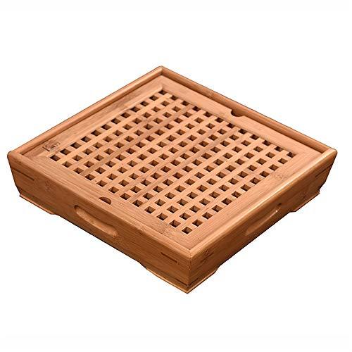 Gongfu Tee Tablett Chinese Wind Bambus-Platz-Drain-Tasse Platte Serviertabletts Chinesische Traditionelle Japanische Kampfkunst Kaffee Serviertablett Teegesellschaft Ceremory