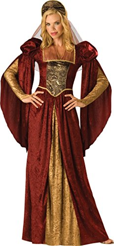 InCharacter Costumes Women's Renaissance Maiden Costume, Burgundy/Gold, Medium