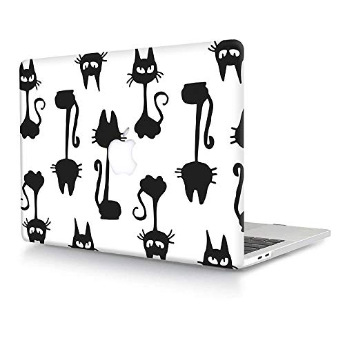 ACJYX Hard Case Compatible with MacBook Pro 13 inch A1278 with CD-ROM Old Version 2012/2011/2010/2009/2008, Plastic Hard Shell Case Protective Cover - Black Cat