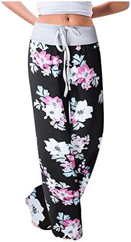 Dasongff Yogahosen Damen Sommer Boho Thailand Stil Locker Bein Marlene Hosen Sporthose Pumphose Haremshose Schlabberhose Hippie Hose Sommerhose Taille Freizeithose