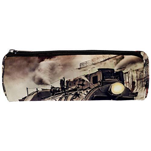 Trousse à crayons rétro avec fermeture éclair pour le train à vapeur et la peinture de la station