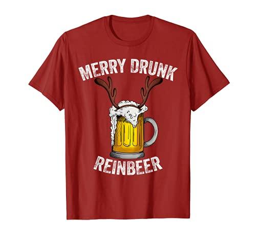 Hombre Happy Drunk ReinBeer Reno Cuernos Beber X-mas Regalo Camiseta