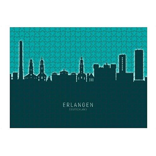 artboxONE Ravensburger-Puzzle L (500 Teile) Städte Erlangen Germany Skyline Glow Teal