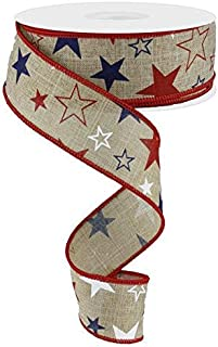 "Stars and Stripes On Burlap Red Royal Blue Wired Ribbon 1.5"" X 10 Yards"
