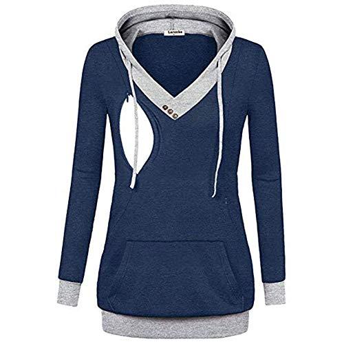 SANFAHSION Hoodie de Maternité,Sweat de Grossesse Blouse d'allaitement Brassière Top Chapeau Mode Vêtement Slime Shirt Confortable(Marine,S)